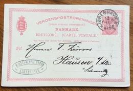 DANMARK BREVKORT CARTE POSTALE FROM COPENAGHEN 13/11/1891 TO HAUSEN . SUISSE - Lettere