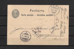 1885 POSTKARTE → Ganzsache Spinnerei & Weberei CHAM Nach Via Langenthal Nach ROGGWIL - Entiers Postaux