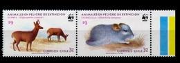 2 Timbres Neufs Du Chili Animaux En Voie D'extinction Faune - Cile