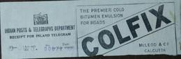 Bitumin,coaltar,road Construction, Colfix,chemical,telegram Receipt,advertisement,advertised Postal Stationary - Chimie