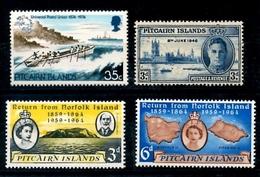 4 Timbres De Pitcairn Divers Sea Pirogues Reine Elizabeth - Timbres