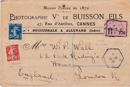 N° 138 N° 140 S / Env Recommandé T.P. Ob Cannes 30 3 10 Pour Londres Angleterre - Marcophilie (Lettres)