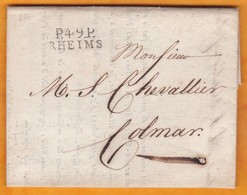 1812 - Marque Postale P49P RHEIMS, Reims, Marne Sur LAC Signée Veuve Cliquot Vers Colmar, Haut Rhin - Storia Postale