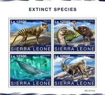 Sierra Leone 2019, Extinct Species, Birds, Whale, Wolf, 4val In BF - Straussen- Und Laufvögel