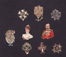 Lot De 9 Chromos Découpis    Roi, Reine, Médailles      3.5 X 2.7 Cm Le Plus Grand - Other