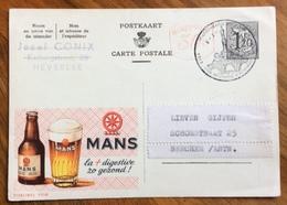 BIRRA  MANS ADVERTISING PUBBLICITA' SU CARTE POSTALE BELGIQUE - Lettere
