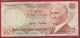 Turquie 20 Lira 1974 (Sign #) Dans L 'état - Turkey