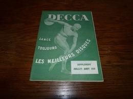 Catalogue Disques Decca Sup Juillet Aout 1950     10p - Musique & Instruments