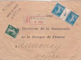N° 137 N° 140 Millésime 6 X 2 S / Env Recommandé T.P. Ob Montelimar .... - 1906-38 Semeuse Camée