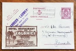 ALBERGHI - HOTEL RESTAURANT DES COLONIES  - BRUSSEL  -  ADVERTISING PUBBLICITA' SU CARTE POSTALE BELGIQUE - Lettere
