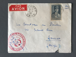 Algérie N°168 Sur Lettre De Tlemcen Pour Saurat 1942 - Cachet Rouge ETAT FRANCAIS - (B1611) - Algérie (1924-1962)