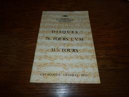 Catalogue Disques Deutsche Grammophon Catalogue Général 1953 78 Tours LVM 33 1/3 Tours 30pages - Musique & Instruments