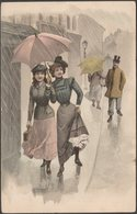 Zwei Frauen Im Regen, C.1900-05 - Chromolitho AK - Künstlerkarten