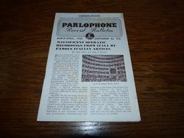 Catalogue Disques Record Bulletin Parlophone March April 1950 Yves Montand  Diana Decker Etc 20p - Musique & Instruments