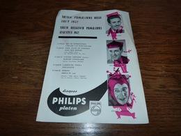 Folder  Disques Philips Programme Belge Willy Rockin Cris Sent Louis Baret Eugène Hansen Oscar Saintal 1952 - Muziek & Instrumenten