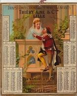 1880 Calendrier Grand Format Thiery Ainé à Lille Mode Confection Pour Homme Et Enfant - Calendriers