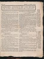 GENTSCHE KRANT 11 JUILLET 1812 MET NEDERLANDSCHE TAKSZEGELS  4 BLADZIJDEN AFGEBEELD 26 X 21 CM HANDGESCHEPT PAPIER - Collectors