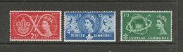 Great Britain, EIIR, 1957, Scouts Jubilee Jamboree, Set Of 3, MH * - 1952-.... (Elizabeth II)