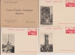 """Pochette De 5 Cartes Illustrées PARIS N°s 6 à 10 Couleur Noire ( Avec Entier Postal 90 C Rouge  """"la Conciergerie """") - Entiers Postaux"""