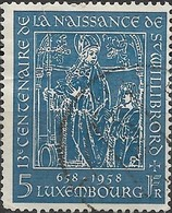 LUXEMBOURG 1958 1300th Birth Anniversary Of St Willibrord - 5f. St Willibrord And Suppliant. (Miracle Of The Wine-cas FU - Usati