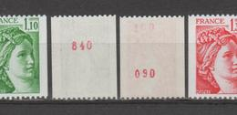 FRANCE / 1979 / Y&T N° 2062a/2063a ** : Sabine 1.10 F & 1.30 F (de Roulette Avec N° Rouge) X 1 - Ungebraucht