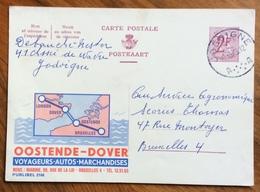 NAVIGAZIONE  TRATTA OOSTENDE - DOVER ...-  ADVERTISING PUBBLICITA' SU CARTE POSTALE BELGIQUE - Lettere