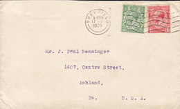 Great Britain SHEFFIELD 1933 Cover Brief ASHLAND Pa. United States 2x GV. Stamps - 1902-1951 (Kings)