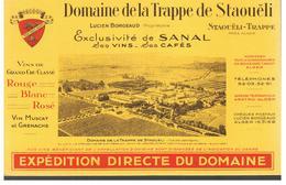 Buvard Domaine De La Trappe De Staouëli Exclusivité De SANAL Ses Vins Ses Cafés - Café & Thé