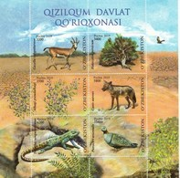 Uzbekistan 2019 Kyzylkum Nature Reserve Flora Fauna Birds Lizard Golden Jackal Gazelle SS Of 6v MNH - Uzbekistan