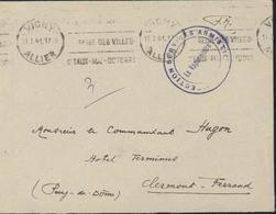 Guerre 39 CAD Vichy 11 1 41 Cachet Direction Services Armistice Le Vaguemestre FM Franchise Militaire Arrivée Clermont - Marcophilie (Lettres)