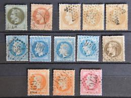 France Napoléon III Lauré - Petit Lot De 13 Timbres N° 28A - 29B - 30 - 31 - 32 - - 1863-1870 Napoleone III Con Gli Allori