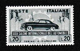 1951 Italia Italy Repubblica SALONE AUTO TORINO Serie MNH** - Automobili
