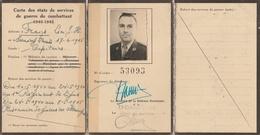 Carte états De Service Combattant 1940 1945 Belgique - 1939-45
