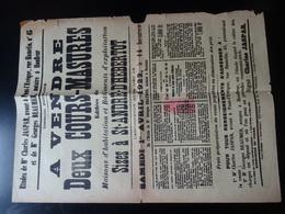 SAINT ANDRE D'HEBERTOT (Calvados) Affiche Vente 2DEUX COURS-MASURES Du 1er Avril 1922 - Posters