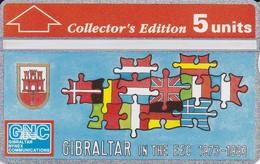 Nº 23 TARJETA DE GIBRALTAR DE LA COMUNIDAD EUROPEA BANDERAS - FLAGS NUEVO-MINT - Gibraltar