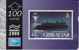Nº38 TARJETA DE GIBRALTAR DE UN SELLO CON UN BARCO USS WEEKHAWKEN(esquina Con Marca) (STAMP-SHIP) - Gibraltar