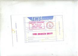 étiquette Chronoposte Cachet Limoges Cheques Postaux - Postdokumente