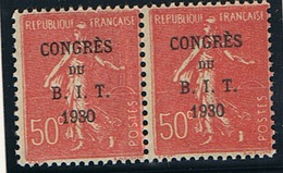 Semeuse Lignée 50c Yvert 264 En Paire, 3 Et 0 Reliés, ** - Kuriositäten: 1921-30 Ungebraucht