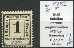 BAYERN PORTO 1870, Nr. 2 XI, UNGEBRAUCHT, PLATTENFEHLER, BPP SIGN. MI. 50,- - Bavière
