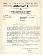 Facture 1950 / 67 STRASBOURG / 59 JEUMONT / Forges Et Constructions Mécaniques électriques / Grèves Usines - France