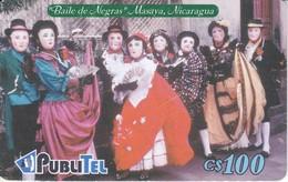 TARJETA DE NICARAGUA DE PUBLITEL DEL BAILE DE NEGRAS (un Poco Rozada) - Nicaragua