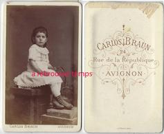 CDV  Jolie Fillette- Photo Carlos Braun à Avignon - Ancianas (antes De 1900)