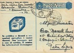 Cartolina In Franchigia Del 16-4-1943 ... IL NEMICO HA INFORMATORI DOVUNQUE ! - 1900-44 Victor Emmanuel III