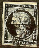 EXTRA CERES N°3a 20c Noir / Blanc Oblitéré GRILLE 1849 Cote 65 Euro PAS D'AMINCI - 1849-1850 Ceres