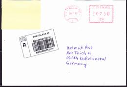 Slowakei Slovakia Slovaquie - Freistempel  über 2,30 € Für Eine Einschreibebrief Der Slowakischen Post Von 20,7.2017 - Slowakische Republik
