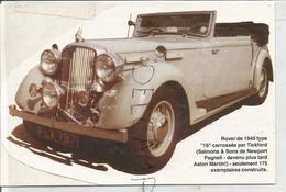 Rover 1940 Type 16. Collage Artisanal Sur Carton Gris Et Blanc - Autos