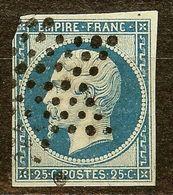 RARE NAPOLEON N°15 25c Bleu Oblitéré ETOILE De POINTS Cote 350 Euro PAS D'AMINCI - 1853-1860 Napoléon III.