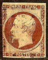 RARE TB NAPOLEON N°18a 1F Carmin Foncé Oblit GROS POINTS Cote 4500€ PAS AMINCI - 1853-1860 Napoléon III