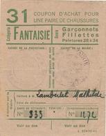 """Coupon D'achat 1944 France St. Gengoux Saone&Loire  Pour """" Une Pair De Chaussures """" Carte Ravitaillement B - Historische Documenten"""
