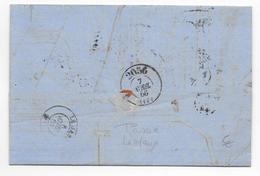CALVADOS - 1866 - LETTRE De HONFLEUR Avec BUREAU De PASSE 2056 De LISIEUX Au DOS => SARTHE - 1849-1876: Période Classique
